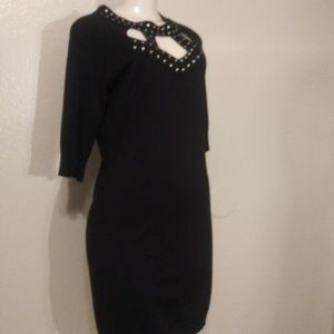 ALLISON BRITNEY SWEATER DRESS BLACK /GOLD SIZE L